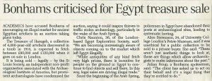 'Bonhams criticised for Egypt treasure sale', The Daily Telegraph, 2 October 2014